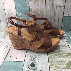 Born B O Concepts Women Slingback 3 Strap Sandals Buckle  Flats 6 Brown